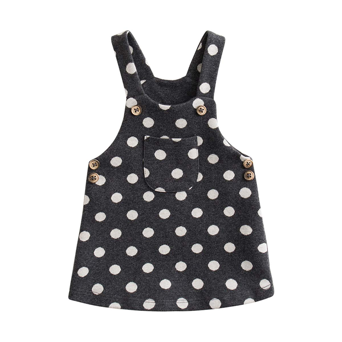 marc janie Little Girls Autumn Polka Dots Overalls Baby Girls Knitted Jacquard Dress Polka Dots 3T (90 cm)