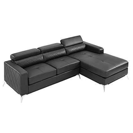 Sectional Sofa with Right Facing Chaise 2 Pieces Set Faux Leather Recliner  (Black) 2019 Updated Model by Bliss Brands