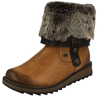 34627302c7679 Remonte Drift Womens Warm Lined Fur Cuff Wedge Boots: Amazon.co.uk: Shoes &  Bags