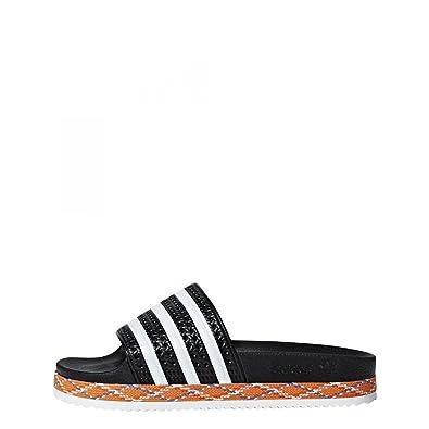 newest 15249 7112e adidas Mädchen Adilette New Bold W Dusch- Badeschuhe, Schwarz  FtwblaNegbás 000