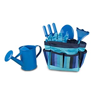Gardening Tool Set for Kids - Toy Shovel Gardening Set - Outdoor Toy with Carrying Bag - Blue