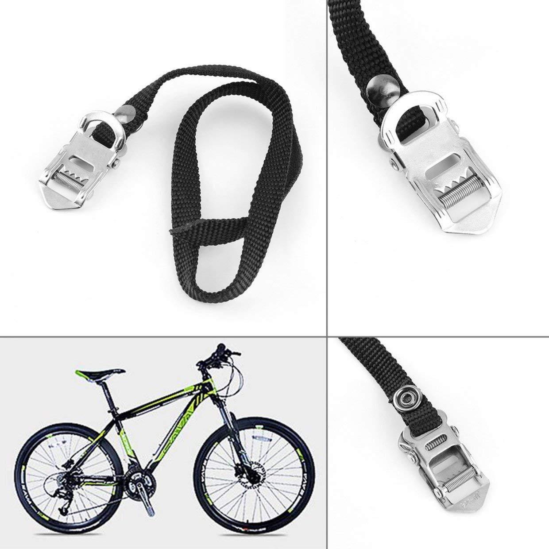 Qewmsg 1 par MTB BMX de la Bici del Pedal de Nylon Correas Clips Negro Reemplazo del Dedo del pie del Pedal Correas Marca Durable
