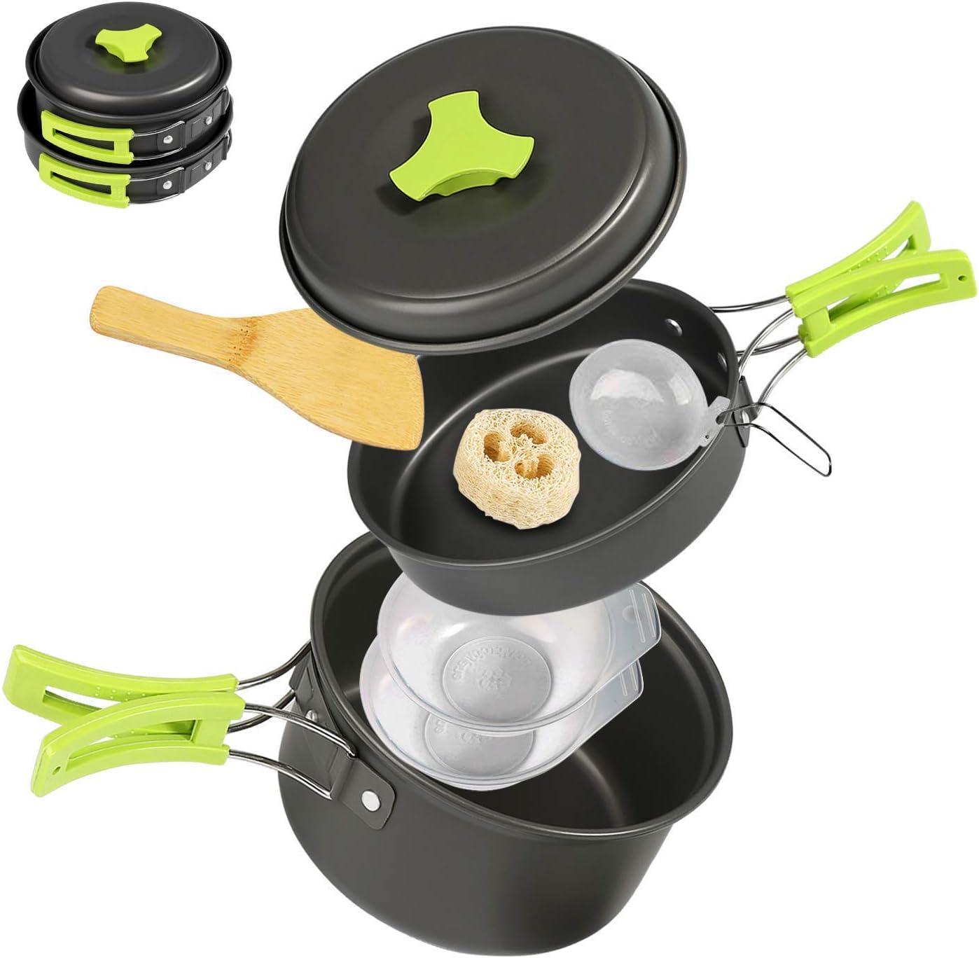 Ballery Kit de Utensilios de Cocina para Acampar, Mini Kit de Utensilios de Cocina, 15 Piezas Mini Kit de Acampar de Cocinar para 1-4 Personas Mochilero, Camping al Aire Libre Senderismo y Picnic