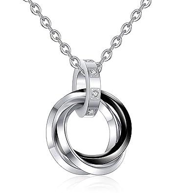 2a97fe71da Besteel Stainless Steel Triple Ring Pendant Necklace For Men Women Couple  Chain Black/Rose-gold: Amazon.co.uk: Jewellery