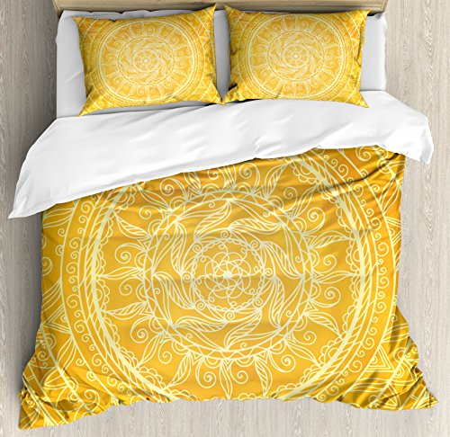 Yellow Mandala Queen Size Duvet Cover Set by Ambesonne, Vintage Lace Style Authentic Circles Sun Inspired Cosmic Blossom Moroccan, Decorative 3 Piece Bedding Set with 2 Pillow Shams, Yellow Orange (Moroccan Style Duvet)
