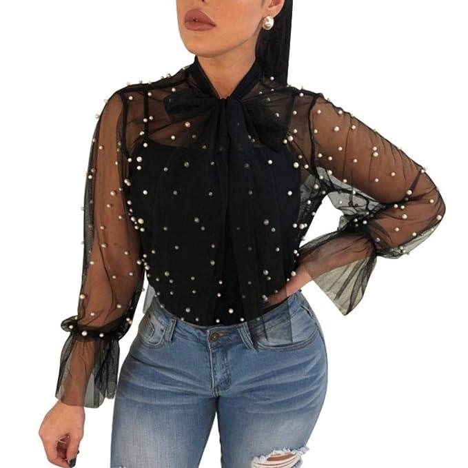 Adelina Lamarmshirt para Mujer Elegantes Lunares Vintage Blusa Transparente De Hilo Ropa De Malla Camisa Bowknot