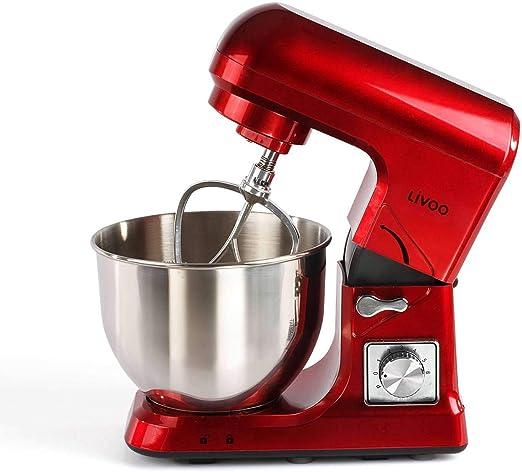 Robot de cocina con cuenco de acero inoxidable 5 litros amasadora roja (1000 W, función de impulso, batidora, gancho para amasar, 6 niveles): Amazon.es: Hogar