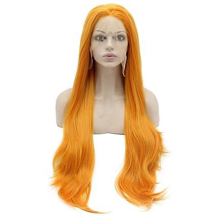 Iwona Extra larga recta naranja de disfraces peluca pelo sintético de color naranja Lace Front Peluca