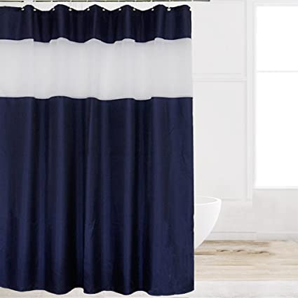 Eforcurtain Modern Striped White Organza Shower Curtains Waterproof Mildew Resistant Solid Navy Blue Fabric Bathroom