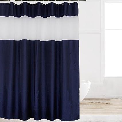 Eforcurtain Modern Striped White Organza Shower Curtains Waterproof Mildew Resistant Solid Navy Blue Fabric Bathroom
