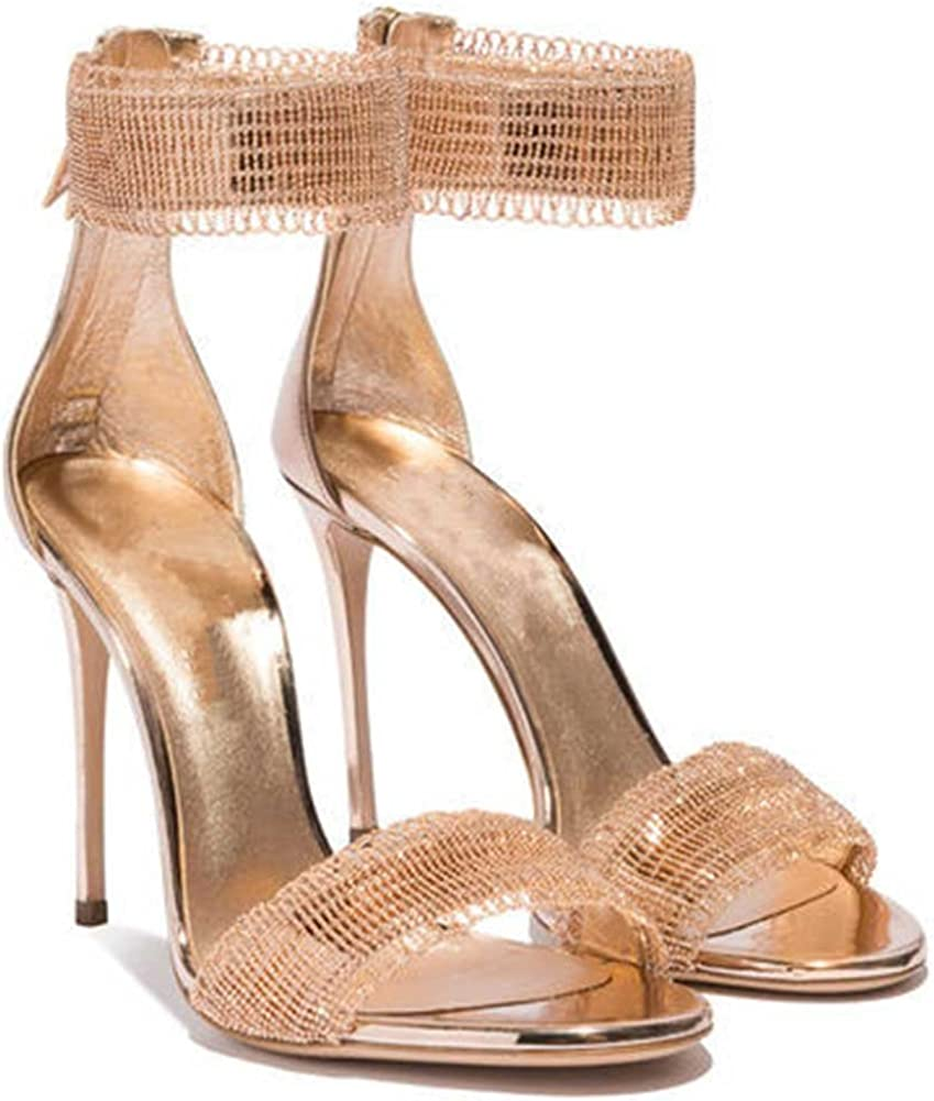 Womens 4.33 Sky-high Heeled Summer Sandal Shoes Gold Size 9.5