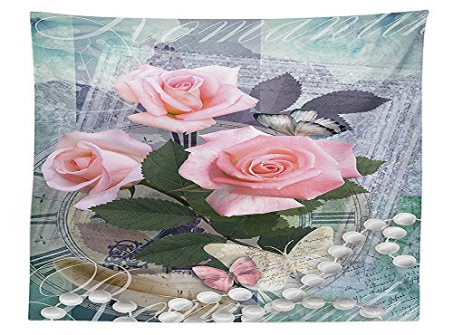 (vipsung Pearls Decoration Tablecloth Classic Rose and Pearls Romantic Dramatic Love Symbols Together Grace Bouquet Artwork Dining Room Kitchen Rectangular Table Cover)