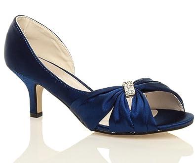 Chic Feet Womens Ladies Navy Blue Satin Wedding Bridal Low Heel Peep Toe  Shoes   Size