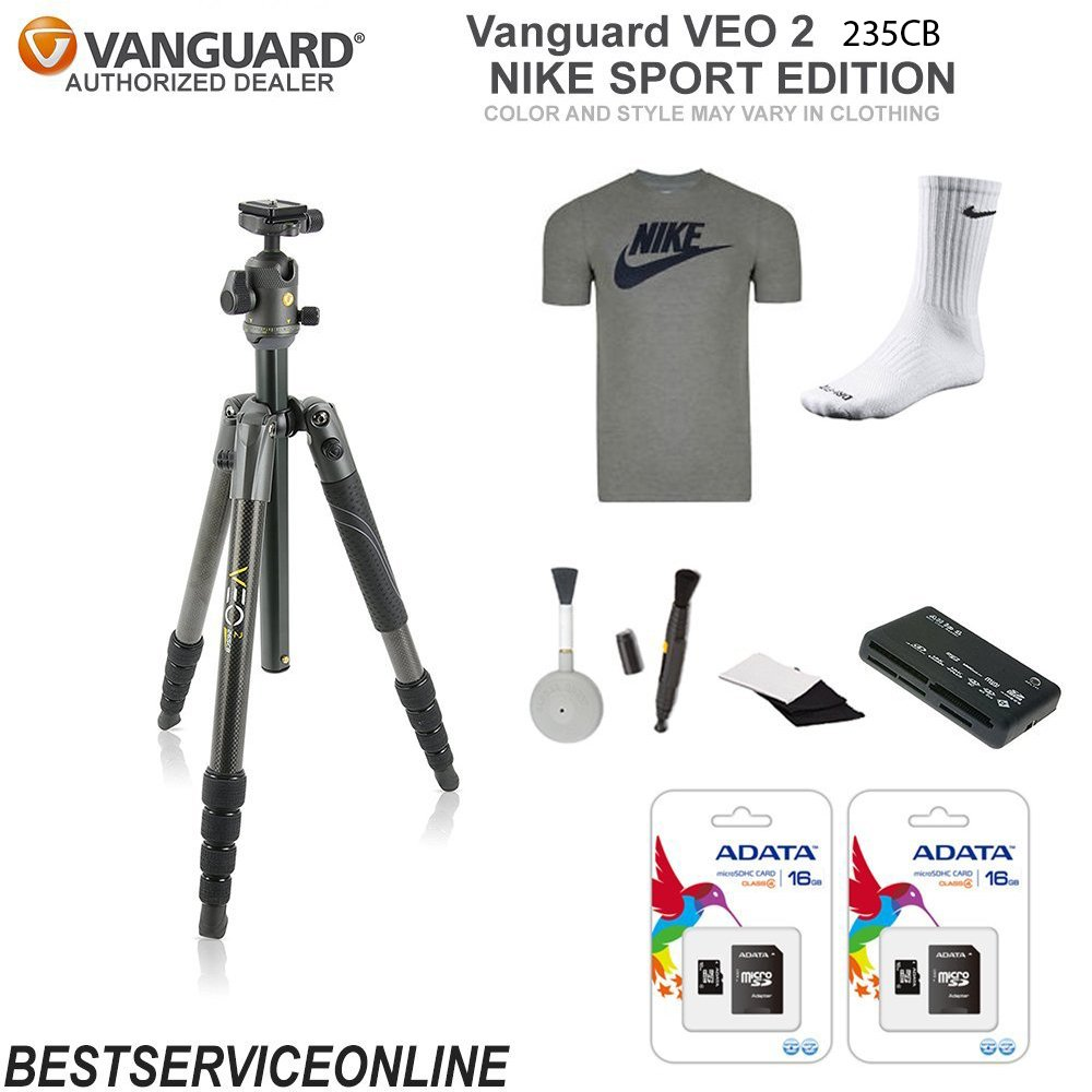 Vanguard VEO 2 235CB Tripod Nike Sport Edition KIT Includes: Nike Shirt, Nike Socks, Universal Memory Card Reader, Lens Cleaning Brush, and 2 16GB Micro-SD ADATA Cards