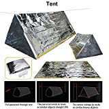 EMDMAK Emergency Mylar Thermal Survival Tent,Sleeping Bag Survival Shelter, Blanket 3 in 1 Emergency Survival Kit Heat Reflective Waterproof for Outdoor Camping Hiking or Adventures