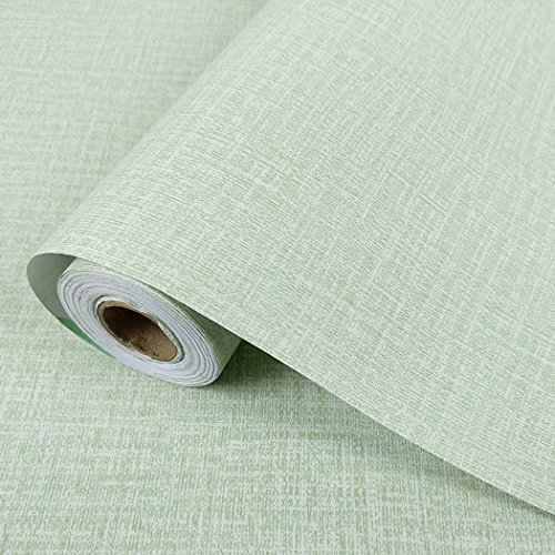 Modern Faux Grasscloth Peel and Stick Wallpaper Roll Self Adhesive Linen Contact Paper Wall Decoration 24 by 117 Inches (Green)