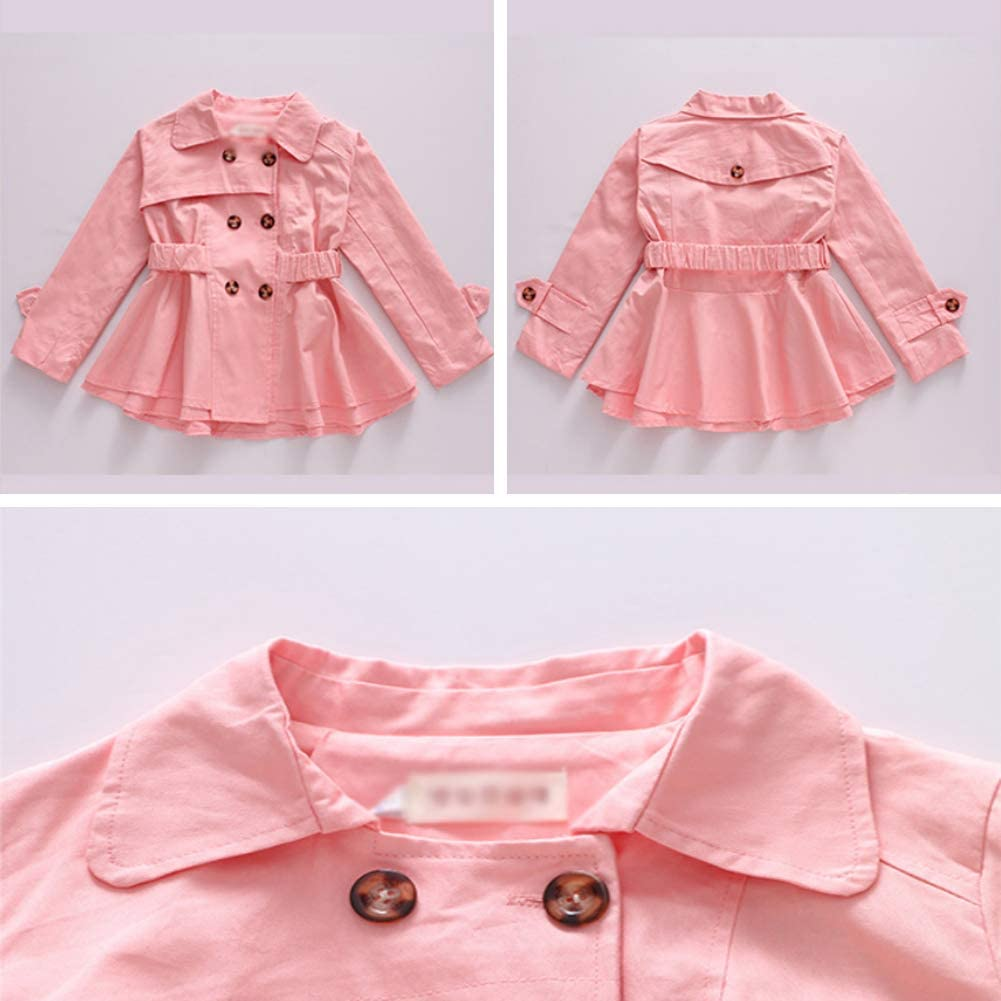 SXSHUN Bambina Trench Coat con Vita Elastica Giacca Elegante con Bottoni