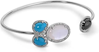 product image for Carolyn Pollack Sterling Silver Mother of Pearl, Turquoise and Agate Gemstone Cuff Bracelet Size Medium