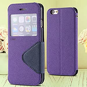 6 Plus View Case PU Leather Window Cover For Iphone 6 Plus 5.5 Inch Flip Phone Shell Card Slot Stand Phone Case For Iphone 6+ --- Color:Black