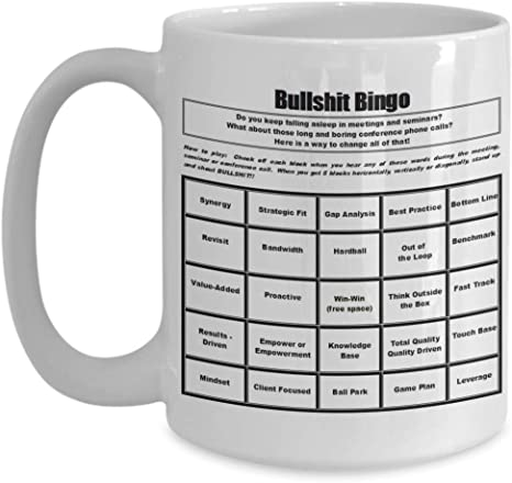 Amazon Com Funny Office 15 Oz Play Coffee Mug Bullshit Bingo Perfect For Meetings By Blue Feather Web Kitchen Dining