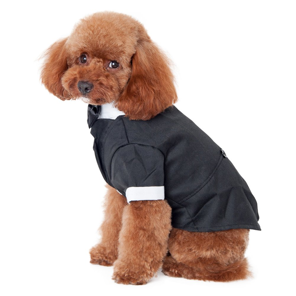 Kuoser Dog Shirt Puppy Pet Small Dog Clothes, Stylish Suit Bow Tie Costume, Wedding Shirt Formal Tuxedo with Black Tie, Dog Prince Wedding Bow Tie Suit (L(Back: 12'',Chest: 17'',Neck:12''), Black) by Kuoser (Image #2)