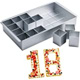 MineSign Number Cake Pans for Baking Cake Molds with 12 Piece Square Cake Tins DIY Stackable Letter Bakeware Set for Wedding