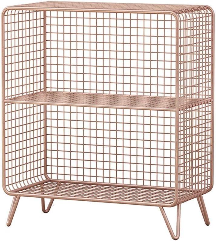 Casillero vintage Armario de hierro forjado Lecho de almacenamiento Estante para piso Estante de exhibición de rejilla de almacenamiento de múltiples capas ( color : Oro rosa , Tamaño : L60×H70 cm )