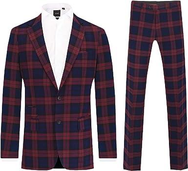 Dobell Mens Burgundy Tartan 2 Piece Suit Tailored Fit Notch Lapel