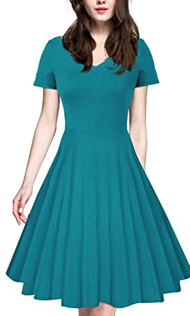 04304f30e308 iLover Women 1950s V-Neck Vintage Rockabilly Swing Cocktail Evening  Stretchy Casual Work Businees Dress