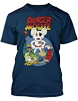Retro 1980's TV Cartoon Character Dangermouse vintage style Navy t-shirt
