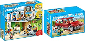 PLAYMOBIL Furnished School Building & Family Car