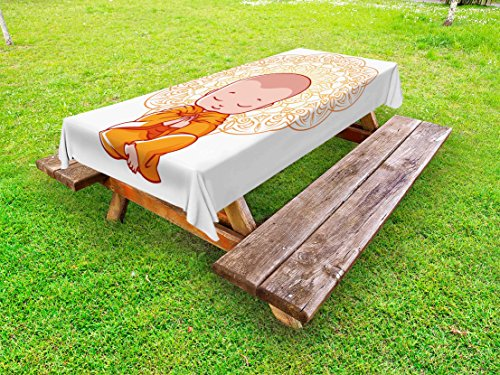 Ambesonne Mandala Outdoor Tablecloth, Meditation Theme Cartoon Baby Monk Meditating on The White Background Print, Decorative Washable Picnic Table Cloth, 58 X 120 inches, White and Orange by Ambesonne