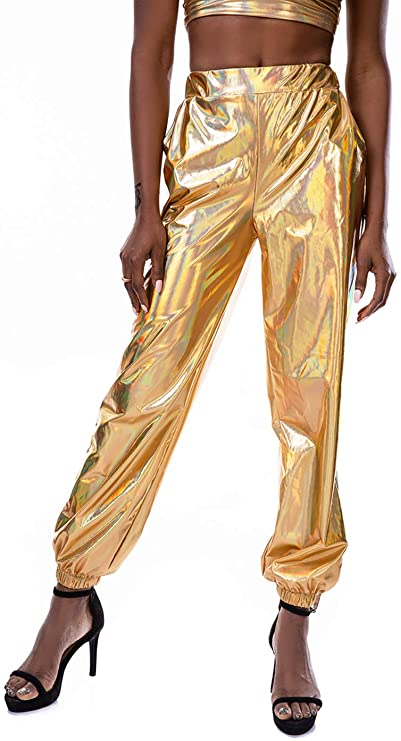 80s Costumes, Outfit Ideas- Girls and Guys Zaxicht Womens Metallic Shinny Pants Casual Holographic Jogger Sweatpants Punk Hip Hop Trousers Streetwear $22.99 AT vintagedancer.com