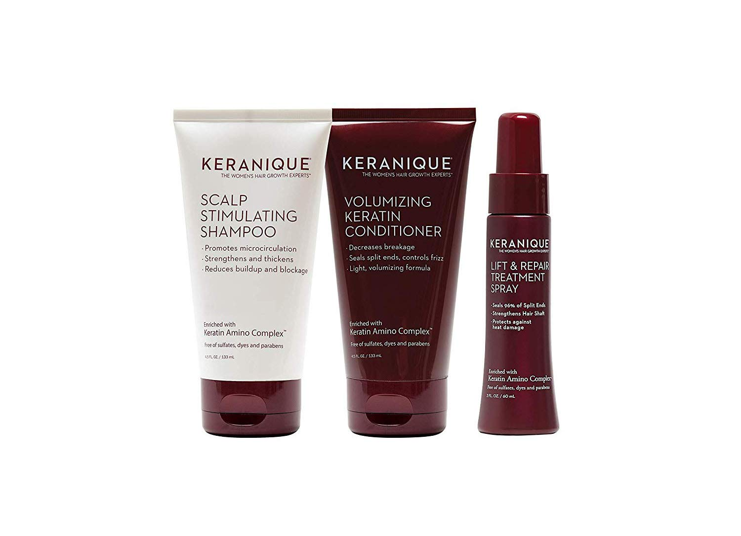 Keranique 30 Day Lift & Repair Kit   Shampoo, Conditioner, and Lift & Repair Treatment Spray   Keratin Amino Complex   Seals Split Ends   Free of Sulfates, Dyes and Parabens by Keranique