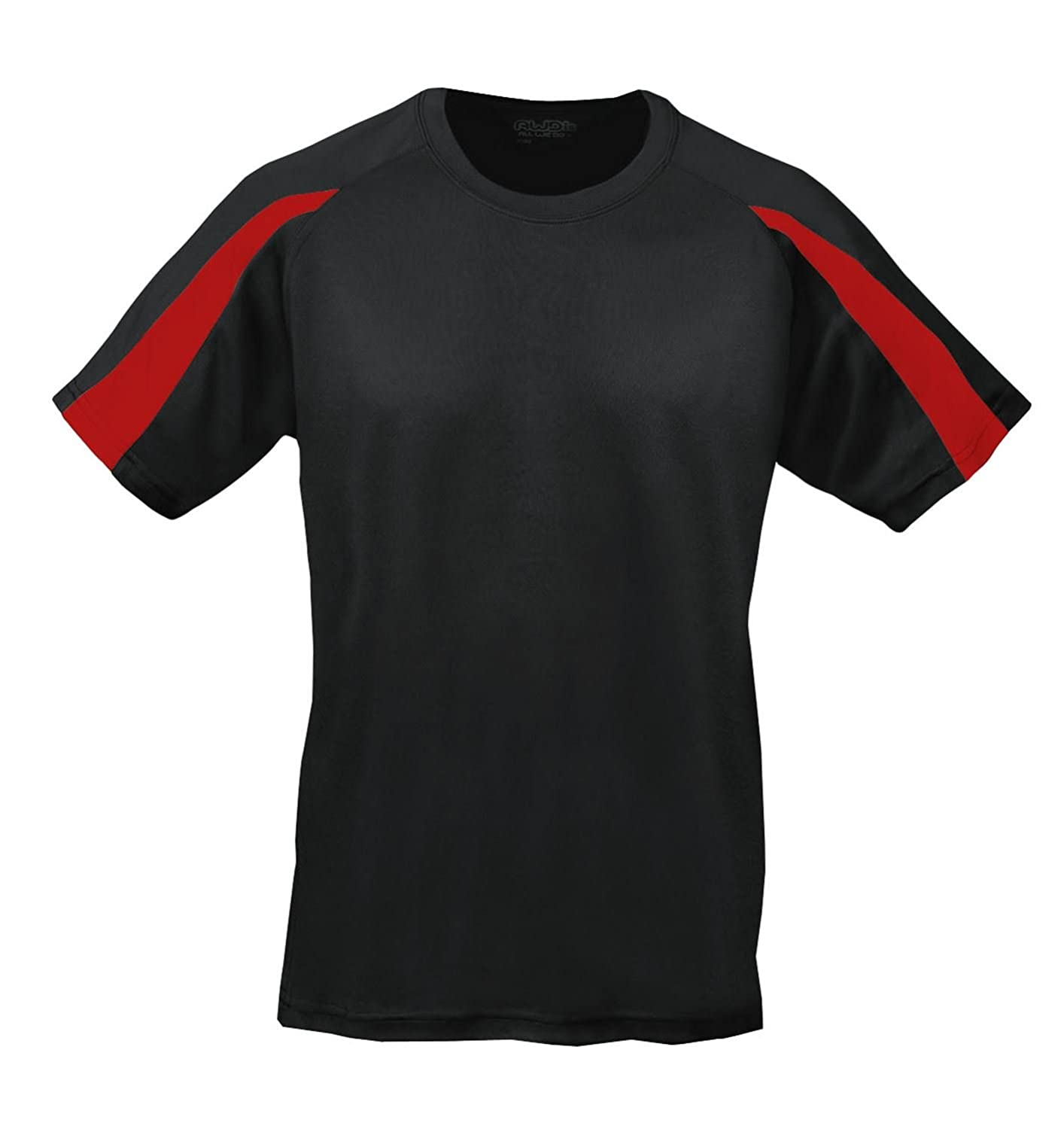 AWDis Cool Contrast T-Shirt JC003 Jet Black/Fire Red XXL: Amazon.co.uk:  Clothing