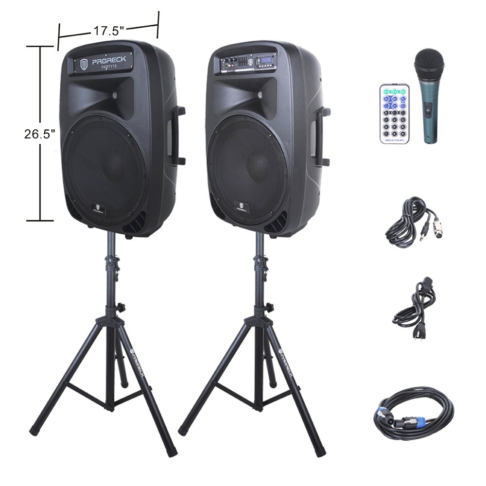 PRORECK PARTY 15 Portable 15-Inch 2000 Watt 2-Way Powered PA Speaker System Combo Set with Bluetooth/USB/SD Card Reader/ FM Radio/Remote Control/LED Light by PRORECK
