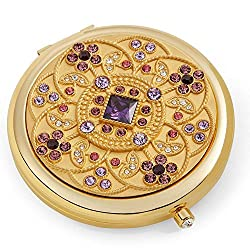 24k Gold Electroplate Makeup Mirror Floral Design With Rhinestones