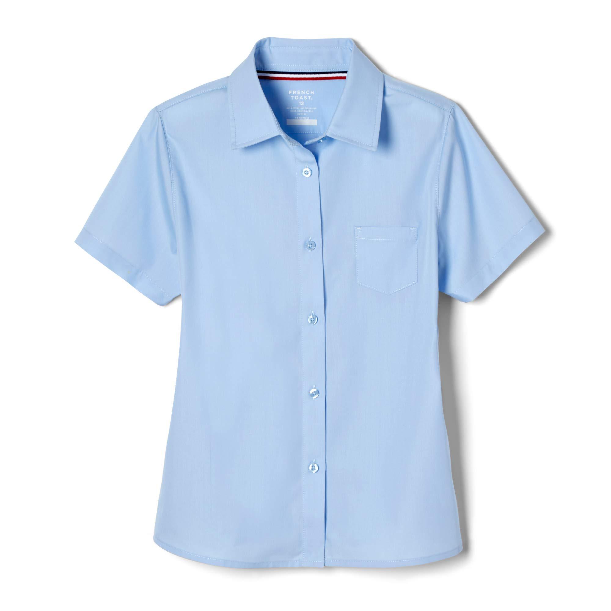 French Toast Girls' Big Short Sleeve Pocket Shirt, Light Blue, 16 by French Toast