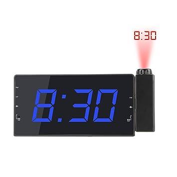 AOZBZ Reloj Despertador Digital Proyección Reloj Despertador con Radio FM Temporizador de Despertador Temperatura Pantalla LED Carga USB para el Dormitorio ...