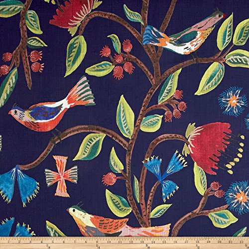 Lacefield Designs Global Market Birds of Eden Exclusive Navy Fabric by The Yard
