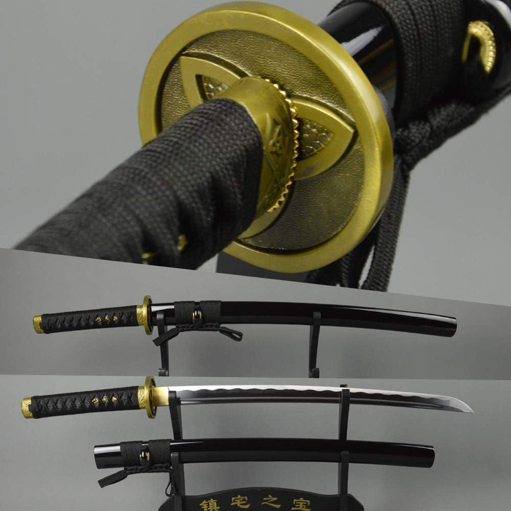 Black T1060 Carbon Steel Wakizashi Hand Forged Full Tang Japanese samurai sword