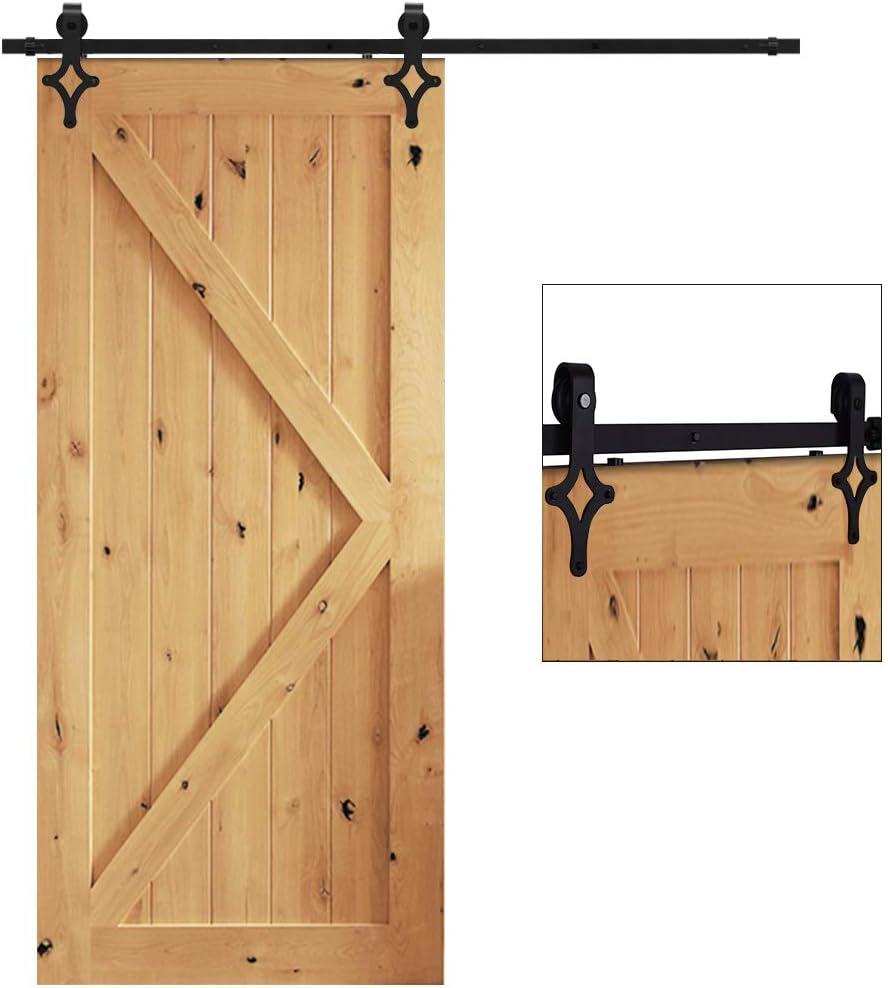 TSMST 8FT/242cm Herraje para Puerta Corredera Kit de Accesorios para Puertas Correderas Granero de Riel Negro, Sistema de Puerta Corredera de Negro para Puerta de Madera Individual-Rombo Estilo