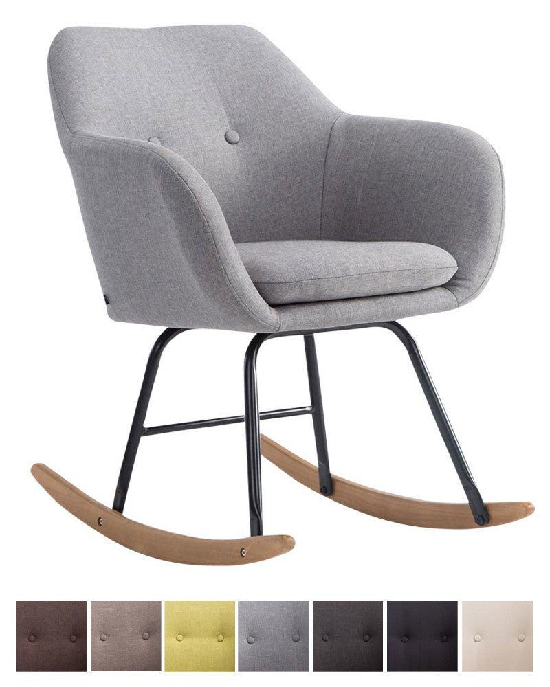 Rocking chair Avalon : fauteuil à bascule en tissu gris avec pieds en bois
