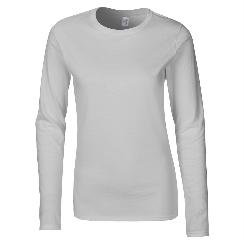 Womens Ladies Basic Long Sleeve Plain Round Neck Stretch Top T Shirt Plus Size