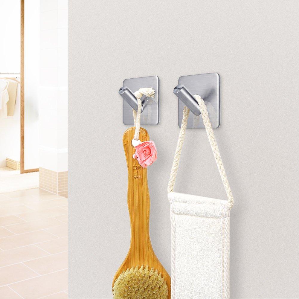 FOTYRIG Heavy Duty Adhesive Wall Hooks Hangers Stainless Steel Towel Hooks Stick On Home Bathroom Kitchen for Dog Leash, Umbrellas, Scarves, Towels, Robes, Bags, Coats, Keys, Calendars -4 Packs by FOTYRIG (Image #4)