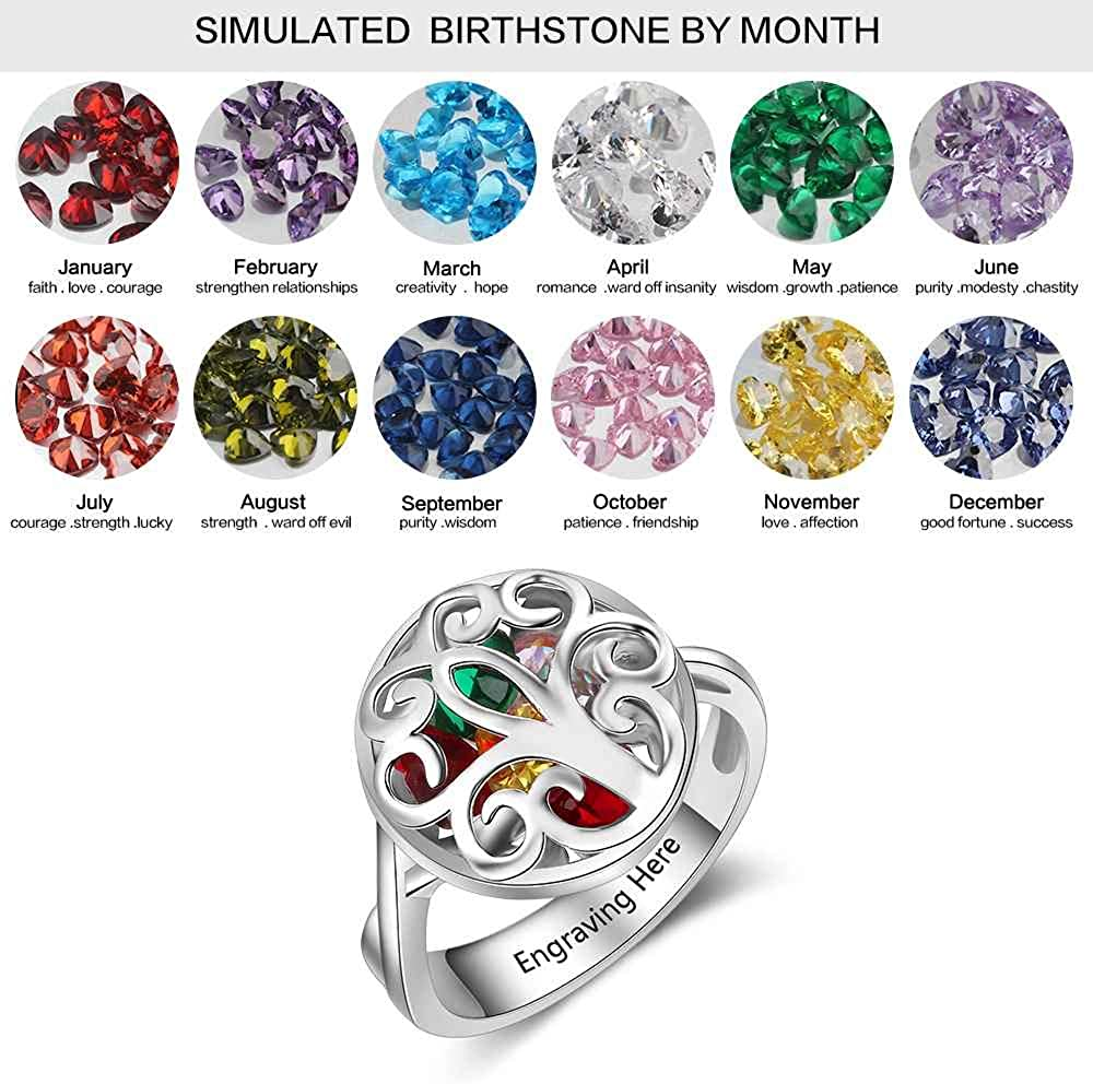 Personalized Mother Rings with Simulated Birthstones Tree of Life Anniversary Rings Family Rings for Mothers Day