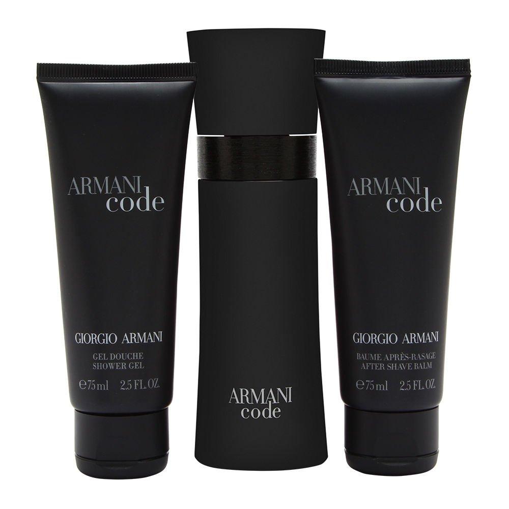 Armani Code by Giorgio Armani for Men 3 Piece Set Includes: 2.5 oz Eau de Toilette Spray + 2.5 oz After Shave Balm + 2.5 oz Shower Gel