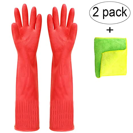 check out look for on feet shots of Malier Pack of 2 Pairs Rubber Cleaning Gloves, Extended Kitchen Dishwashing  Gloves, Waterproof Reusable Household Cleaning Gloves with Cleaning Cloth  ...