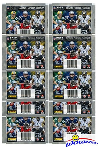 2017 Panini NFL Football Stickers Collection with 10 Factory Sealed Sticker Packs & 70 MINT Stickers! Look for Stickers of NFL Superstars & RCs Including Tom Brady, Dak Prescott, Carson Wentz More!