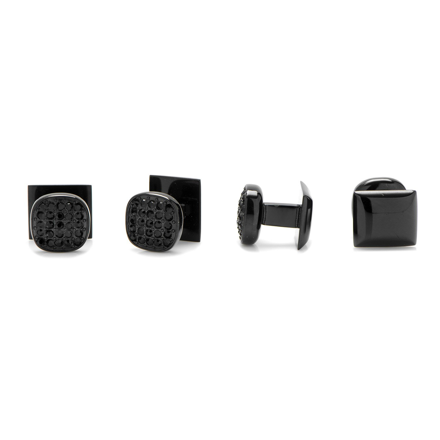 Ox and Bull Trading Co. Black Stainless Steel Black Pave Crystal Studs by Ox and Bull (Image #2)